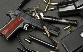 Picture flashlight, phone, USA, keys, cartridges, holster, model, clip, M1911, colt, .45 ACP, i-phone, government