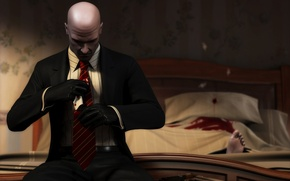 Picture gun, blood, Costume, Gloves, Bed, the corpse, Leg, Blood money, Hitman: Blood Money, Tie