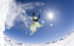 Picture snowboard, mountain, air