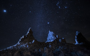 Picture space, stars, night, nature, stones