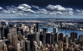 Picture clouds, the building, New York, skyscrapers, horizon, megapolis, New York
