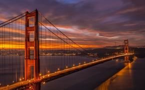 Picture bridge, lights, the evening, CA, San Francisco, Golden gate, twilight