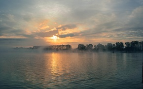 Picture clouds, trees, fog, river, shore, the evening