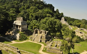 Wallpaper power, beauty, mystery, mystery, Mexico, legend, myth, view from the Sun Temple in Palenque, the ...