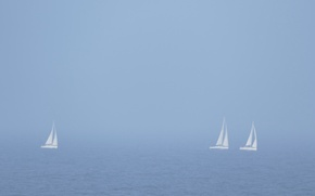 Wallpaper fog, sea, sailboats