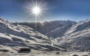 Picture winter, rays, light, snow, landscape, mountains, house, the sun