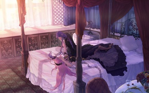 Picture table, bottle, bed, chair, window, fruit, vocaloid, Vocaloid, bedroom, canopy, pink hair, Megurine Luka, Gakupo …