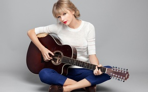 Picture pose, music, background, guitar, actress, blonde, album, singer, Red, Taylor Swift, photoshoot, Taylor Swift, Brian …