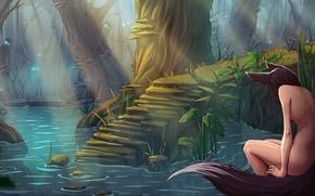 Picture forest, cane, mushrooms, swamp, perfume, girl, forest, nudity, Art, Katrin, kitsune, Kate-FoX