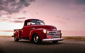 Picture car, chevrolet, retro, old, pickup, lunchbox photoworks