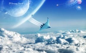 Wallpaper Dreamy World, Shuttle, flight, clouds