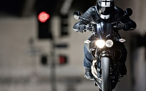 Wallpaper focus, headlight, motorcycle, helmet