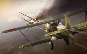 Picture the sky, war, fighters, aircraft, Halkin-Gol, Japanese Ki-10, dogfight, the Soviet I-15