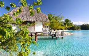 Picture ocean, bungalow, lagoon, bora-bora, water villa, clear aqua