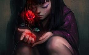 Picture rose, girl, red, tears, art, AyyaSap