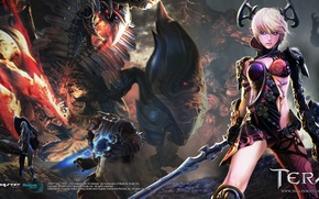 Picture Girl, People, Elf, Elf, Castanic, Human, Tera, Kastanek, Tera Online, Aman, Aman, Two Swords