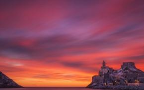 Wallpaper sea, landscape, sunset