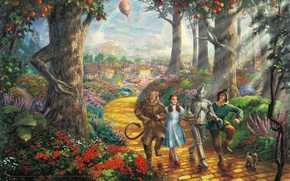 Picture road, forest, trees, balloon, the film, cartoon, rainbow, fruit, fantasy, painting, dog, characters, Thomas Kinkade, …