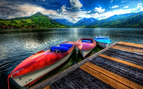 Picture the sky, clouds, landscape, nature, lake, boats