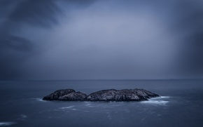 Picture sea, clouds, storm, horizon, island, gray clouds