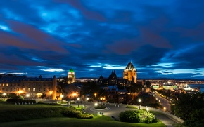 Picture night, the city, lights, Park, home, Canada, lights, benches, Quebec