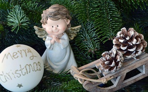 Picture branches, holiday, toys, ball, Christmas, spruce, angel, sled, bumps, figure, angel