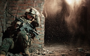 Picture explosion, wall, United States, soldier, protective equipment, Special Operations, Marine Corps Forces