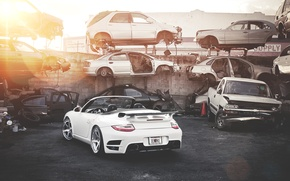 Wallpaper car stuff, Blik, white, white, dump, Porsche, 911, the sun, Porsche, Roadster, Turbo, salvage cars