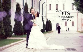 Wallpaper the bride, wedding, pair, Church, the groom, love