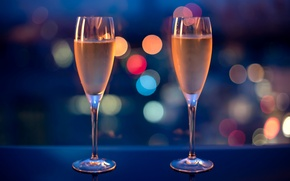 Picture lights, the evening, glasses, champagne