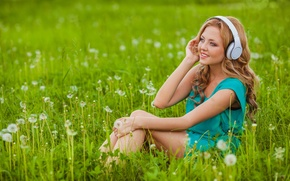 Wallpaper flowers, girl, dandelions, blonde, smile, grass, headphones