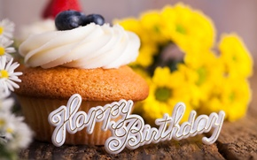 Picture flowers, birthday, holiday, bouquet, blueberries, cream, dessert, cupcake, happy birthday