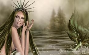 Picture look, rendering, hair, mermaid, hands, tail, fin