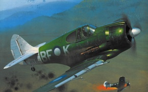 Picture war, art, airplane, painting, aviation, ww2, CAC Boomerang