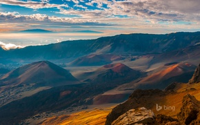 Picture the sky, clouds, landscape, mountains, the volcano, Hawaii, crater, Maui, cone, Haleakala, slag