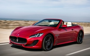 Picture Maserati, Red, Road, Sport, Machine, Convertible, Movement, Machine, Maserati, Red, Car, Car, Cars, Sport, Cars, …