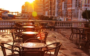 Picture city, the city, chairs, tables, cafe, terrace, early in the morning, old-fashioned, cafe, sunlight, terrace, …