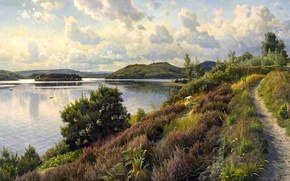 Picture picture, clouds, Peder Monsted, sheep, trees, path, hills, the sky, river, landscape