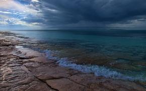 Picture sea, clouds, clouds, nature, shore, coast, horizon