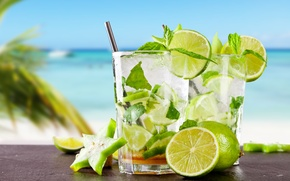 Picture sea, beach, cocktail, lime, fresh, drink, mojito, cocktail, lime, Mojito, tropical