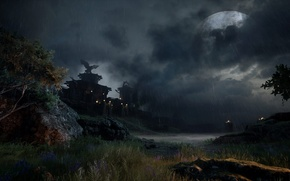 Picture landscape, the moon, fortress, Dragon Age 3