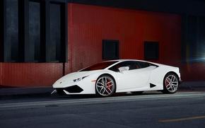 Picture Lamborghini, Front, White, Smoke, Supercar, Wheels, Huracan, LP610-4, Ligth