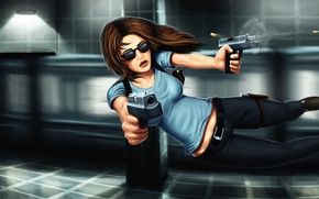 Picture girl, jump, guns, bullet, shooting