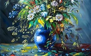 Picture flowers, picture, petals, vase, painting, crumble