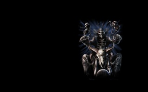 Picture background, art, skeleton, bike, rock, bandana