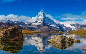 Picture the sky, snow, lake, mountain, Switzerland, Alps, Matterhorn