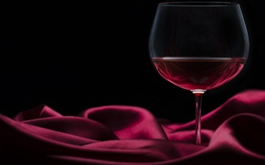 Picture wine, red, glass, silk, black background, Burgundy, satin