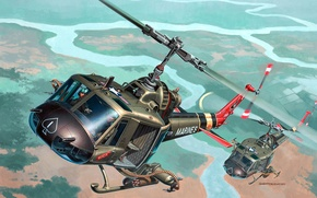 Picture art, helicopter, one, American, sea, multipurpose, Helicopter, Bell, company, infantry, UH-1, Iroquois, Mohawk, Huey, the, …