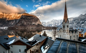 Picture clouds, mountains, lake, tower, home, Austria, roof, Alps, Church, Austria, Hallstatt, Alps, Hallstatt