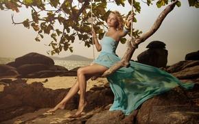 Picture sea, stones, swing, dress, legs
